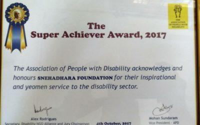 Snehadhara Foundation awarded the Super Achiever Award