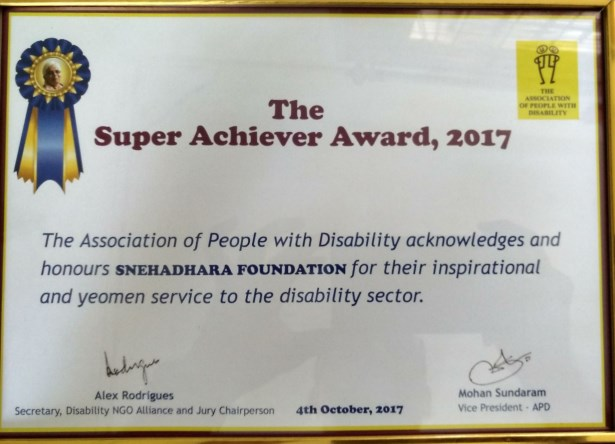 Snehadhara Foundation awarded the Super Achiever Award
